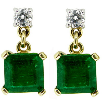 18k Diamond & Emerald Earrings - Click Image to Close