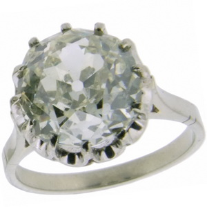 Old Cut Solitaire Cushion shaped diamond ring- 5 carats - Click Image to Close