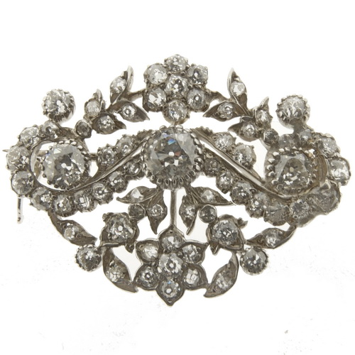 Edwardian Floral Cluster Brooch - Click Image to Close