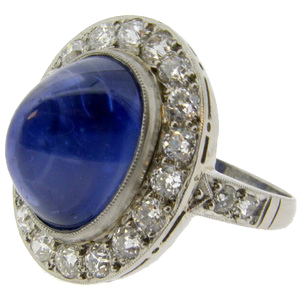 Antique Cabachon Sapphire and diamond ring - Click Image to Close