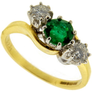 Emerald and Diamond Three Stone Ring - Click Image to Close
