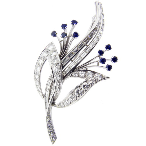 Estate Platinum, Diamond and Sapphire Brooch - Click Image to Close