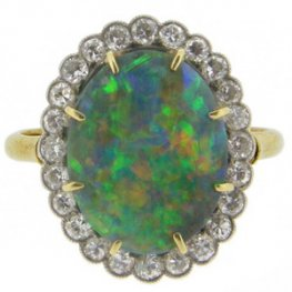An exceptional fine Edwardian Opal and diamond ring