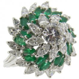Bombe Marquise diamond and emerald cluster ring