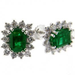 18ct Emerald Earrings. Diamond & Emerald Cluster Earrings