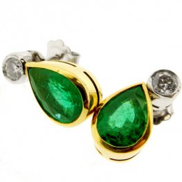 A pair of Emerald & Diamond Earrings