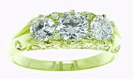 Carved Diamond Three Stone Ring. Brilliant cut Diamonds 1.20ct