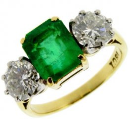 18ct Emerald & Diamond Three Stone Ring