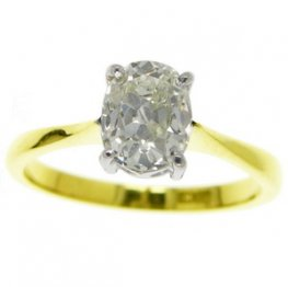Victorian 18ct Gold Old Cushion solitaire Engagement ring