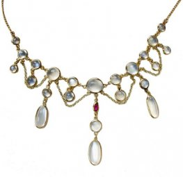 Moonstone Necklace. 23 moonstones set in yellow gold