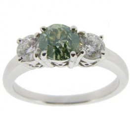 An 18ct White Gold Yellow Green Old English Cut Diamond Ring