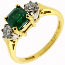 Octagonal Emerald & diamond 3 stone ring