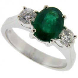 18ct white gold Fine Oval Emerald & diamond 3 stone ring
