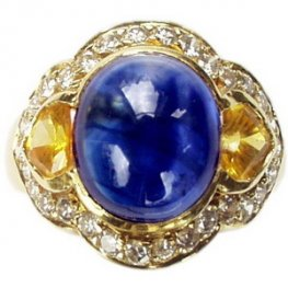 Cabochon Yellow Sapphire and Diamond Cocktail ring