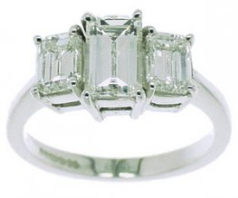 An All Emerald Cut Diamond Three Stone Ring. 1.49cts