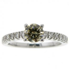 18ct White Gold Olive Green Diamond ring with diamond shoulders