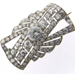 Art Deco Diamond Plaque Brooch