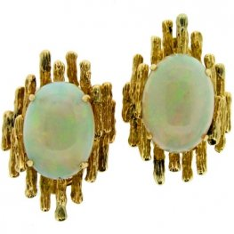 Opal Single Stone Earrings set in textured Gold mounts
