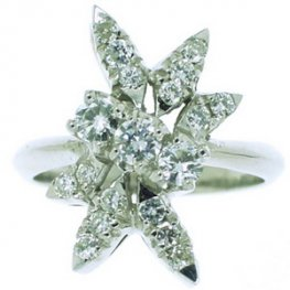 Fiery Starburst Diamond Cluster Ring