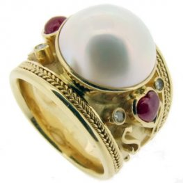 Large Mabe Pearl, Cabochon Ruby and Diamond Dress Ring