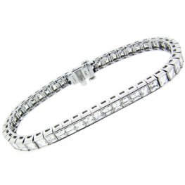 Platinum Square Diamond Line Bracelet
