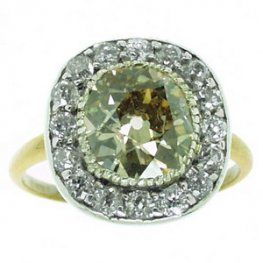 Natural Fancy Coloured Cushion Cut Diamond Cluster Ring
