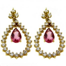 Pink Pear Shape Pink Tourmaline & Diamond Drop Earrings