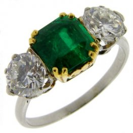 A Fine Emerald and diamond 3 stone ring