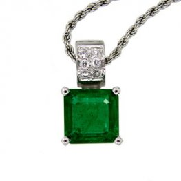 White gold Emerald Necklace Pendant