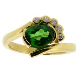 Tsavorite Garnet & diamond ring set in yellow gold 18k
