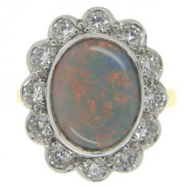 Opal and Brilliant Cut Diamond Cluster Ring