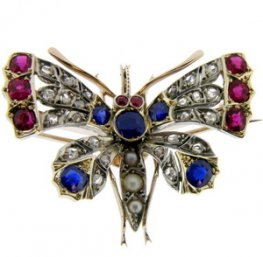 Victorian Multi-Gem set Butterfly Brooch/Pendant