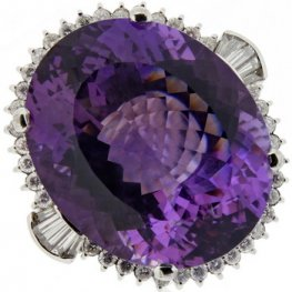 Platinum Amethyst Gemstone Ring