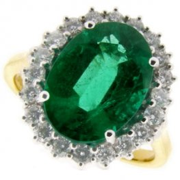 Traditional Oval Emerald and Diamond Cluster Ring