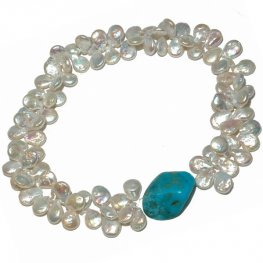 A Freshwater Pearl and Turquoise Necklace