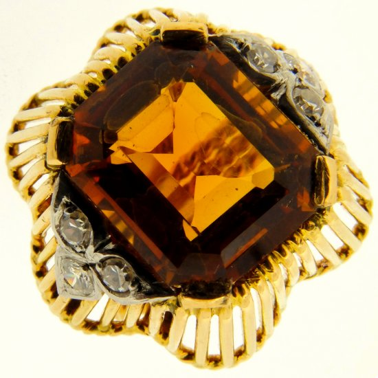 An Exquisite 1940s Smokey Citrine and Diamond Dress Ring.