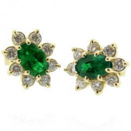 Oval Emerald Earrings set with Diamonds