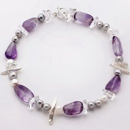 Amethyst Pearl and Clear Quartz Necklace