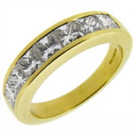 Yellow Gold Princess Cut Diamond Half Eternity Ring 750