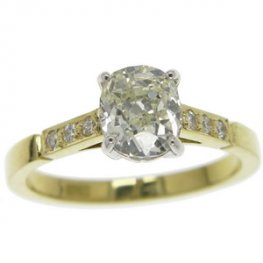 Victorian Old Cushion Cut Solitaire Diamond ring