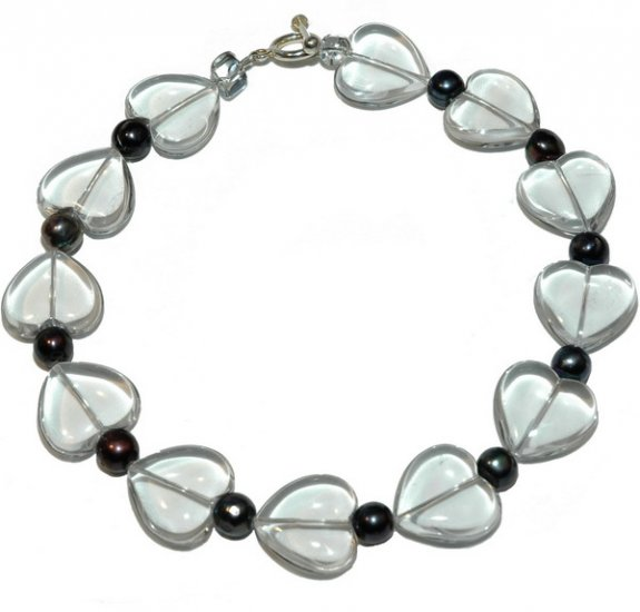 Rock Crystal & Black Freshwater Pearl Necklace