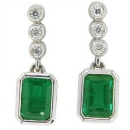 Rectangular Cut Emerald & Brilliant Cut Diamond Pendant Earrings