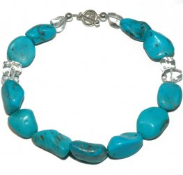 A Turquoise and Rock Crystal Necklace