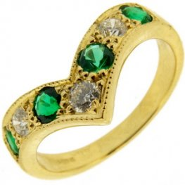 Emerald and Diamond Wishbone Eternity Ring 750 yellow gold