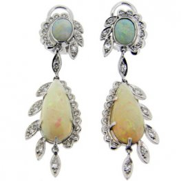 Opal & Diamond Cluster Pendant Earrings. Total Diamonds 0.45cts