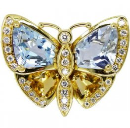 Diamond and Gem set Butterfly Brooch 0.45cts approx