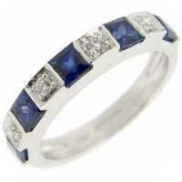 A Contemporary Square Sapphire Ring with Brilliant Cut Diamonds