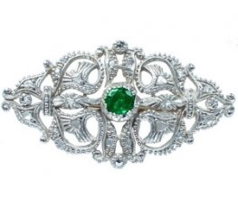 Victorian Emerald and Diamond Brooch. Emerald 0.64cts