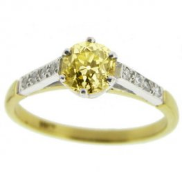 Victorian Old Brilliant Cut Fancy Light Yellow Diamond Solitaire