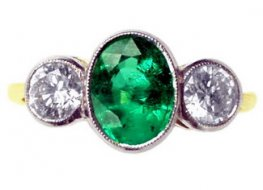 Emerald and Diamond Ring made as a Three Stone Ring